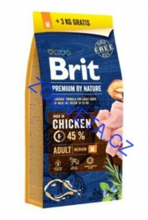 Brit Premium Dog by Nature Adult M 15kg + 3kg ZDARMA